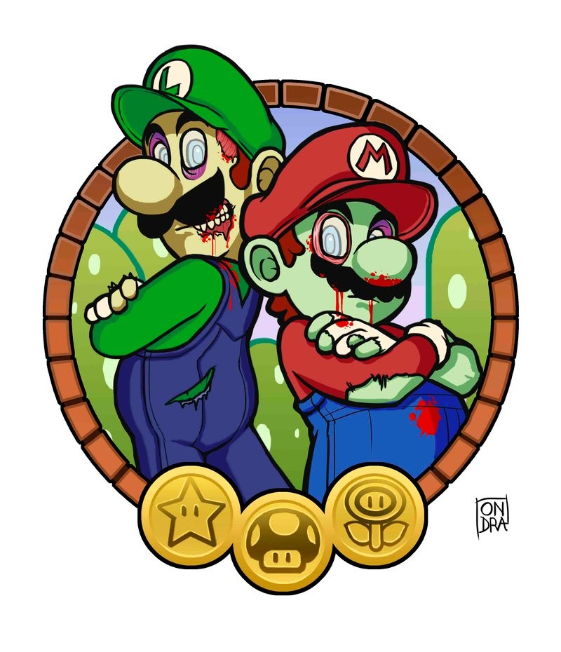 Animated zombie mario and luigi in a frame tattoo design by Ondraede