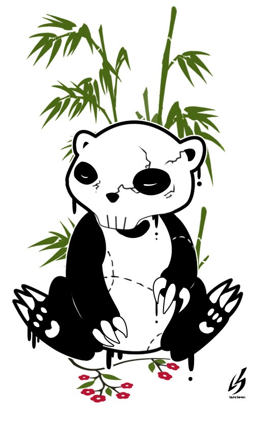 Animaterd punky panda with skull head and green bamboo by Bilow