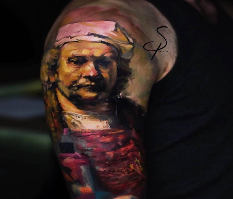 Tatuaggio del ritratto del fornaio colorato in stile artistico
