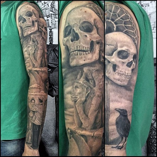 Art style detailed looking sleeve tattoo of gargoyle statue with skull and human couple