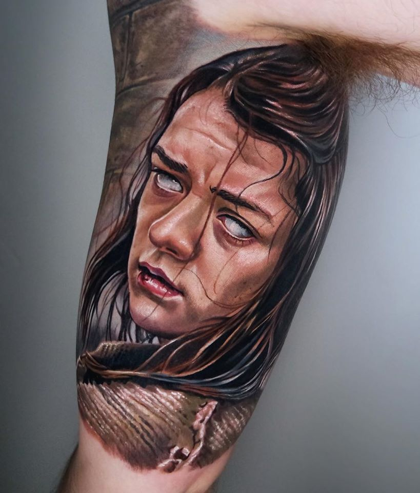 Arya Stark from Game of Thrones tattoo