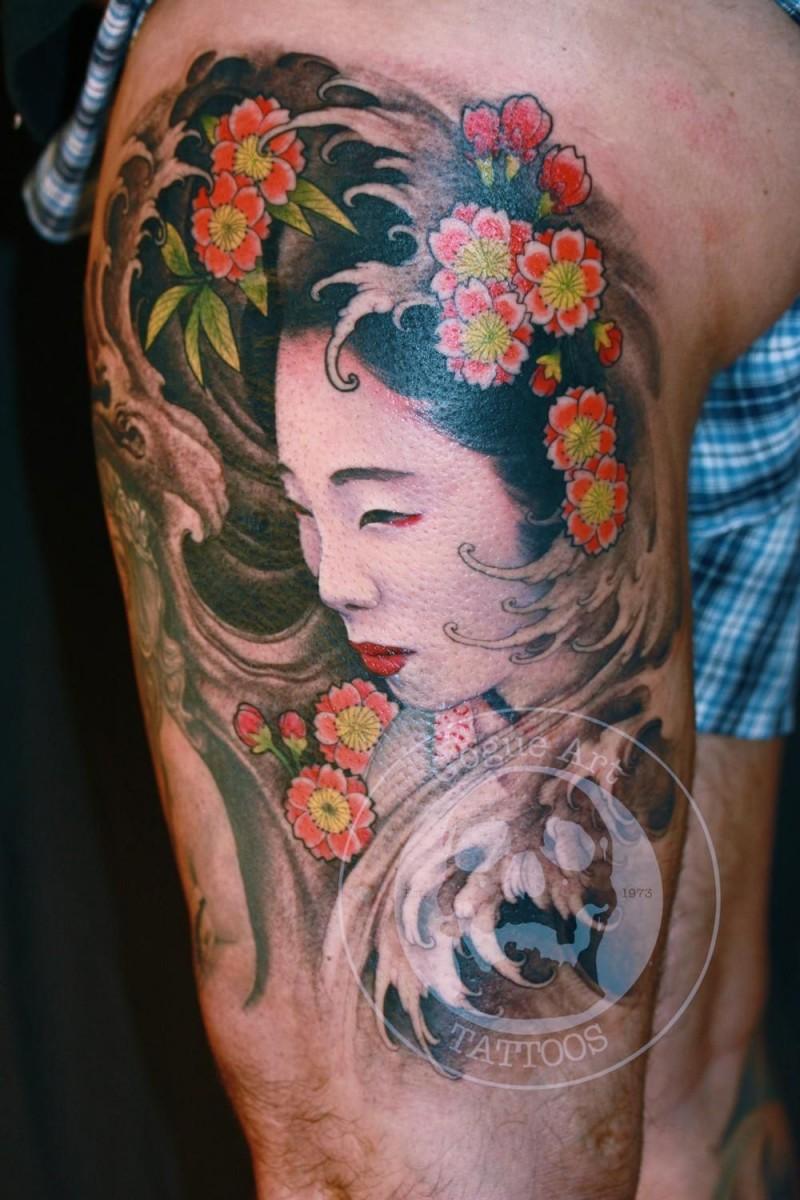 Asian style cute girl tattoo on leg
