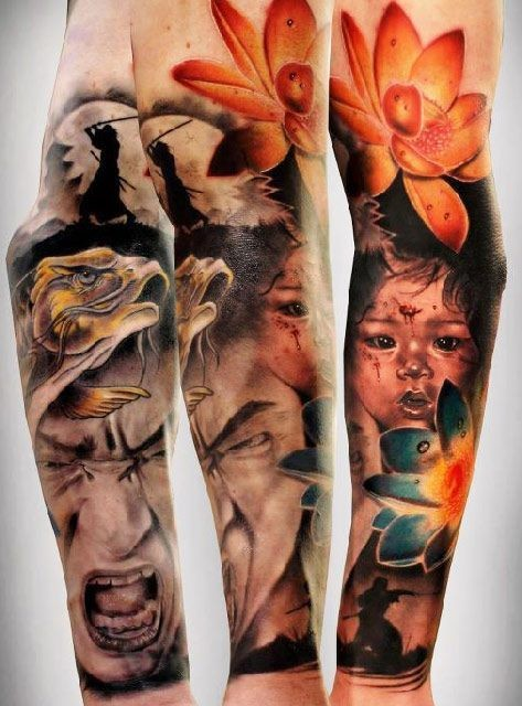 Asian style samurai with lotos and child tattoo