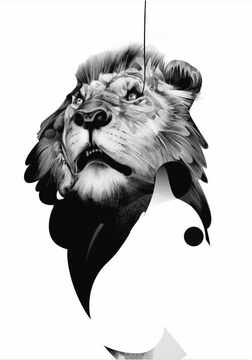 Attractive black-and-white lion head looking up tattoo design
