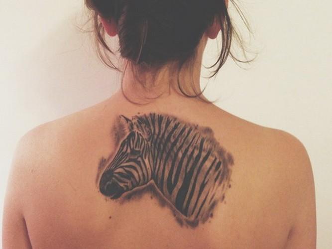 Attractive black-and-white zebra head tattoo on upper back