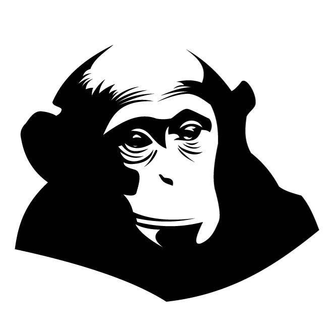 Attractive black-color chimpanzee tattoo design