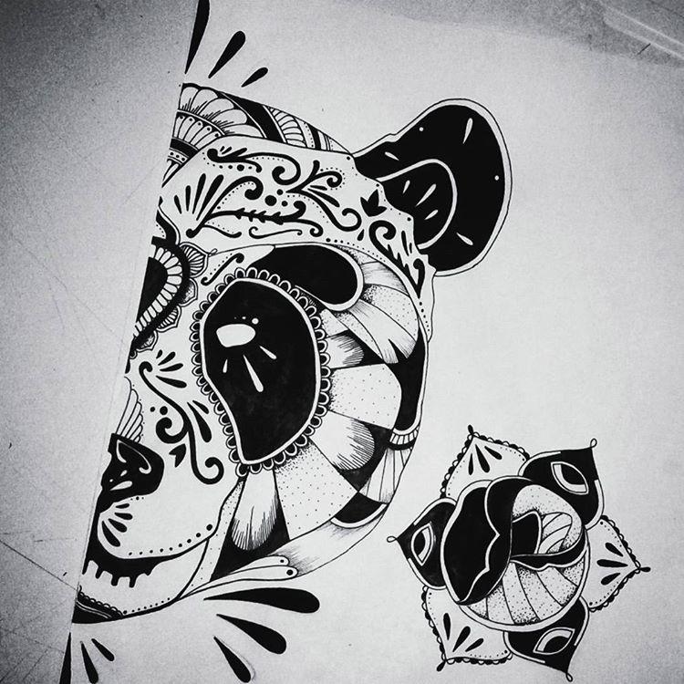Attractive black-ink half panda muzzle and geometric-style rose tattoo design