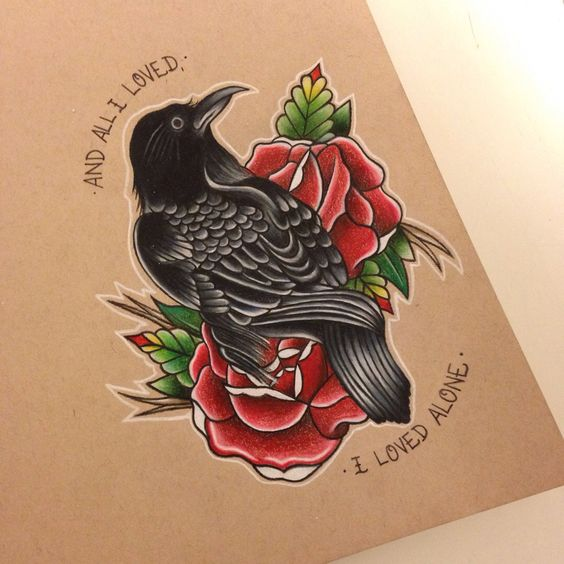Attractive black raven with lettering and red roses tattoo design