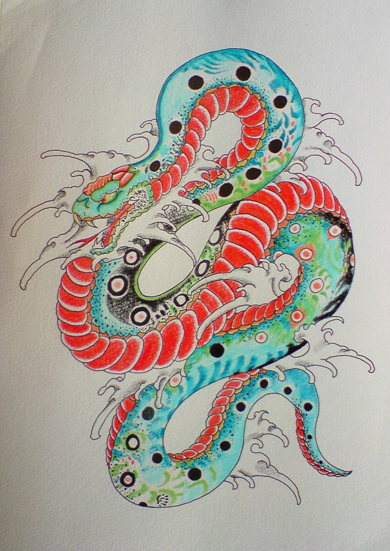 Attractive chinese red-belly snake in uncolored waves tattoo design