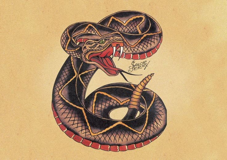 Attractive colorful snake tattoo design