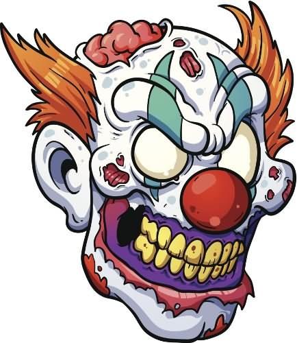 Attractive colorful zombie clawn head tattoo design