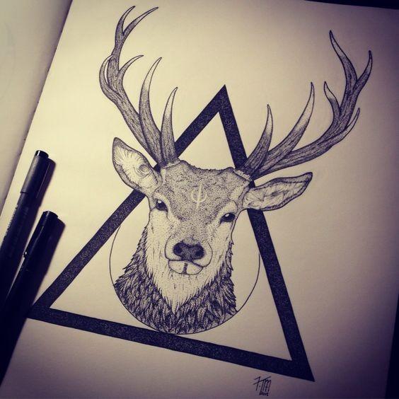 Attractive Dotwork Deer Head In Black Triangle Tattoo Design