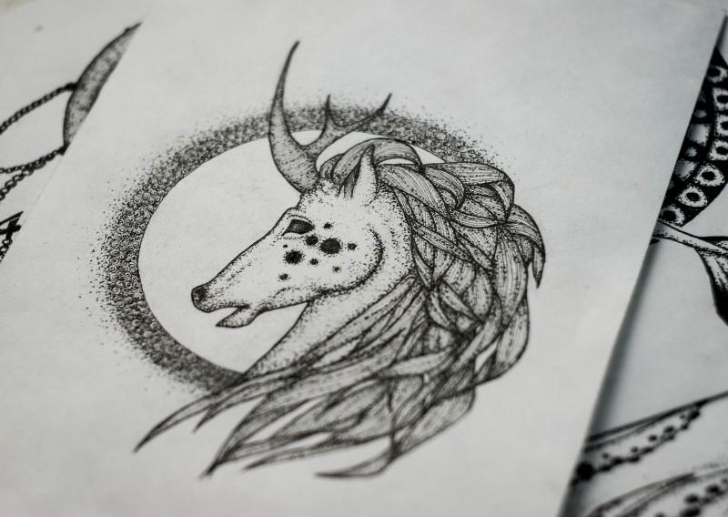 Attractive dotwork unicorn with deer horn tattoo design by Askaraya
