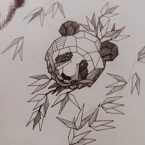 Attractive Geometric Panda Head Aong Bamboo Leaves Tattoo Design