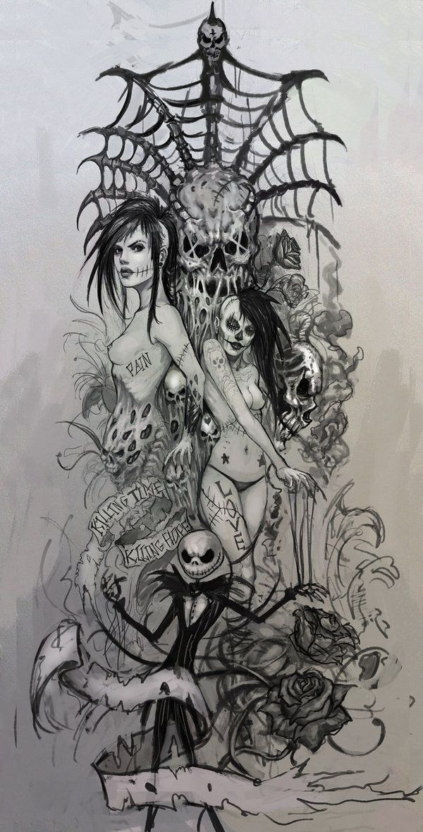 Attractive grey-ink detailed zombie girls with spiders and banners tattoo design