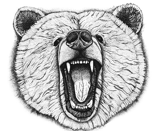 Attractive grey-ink roaring grizzly muzzle tattoo design