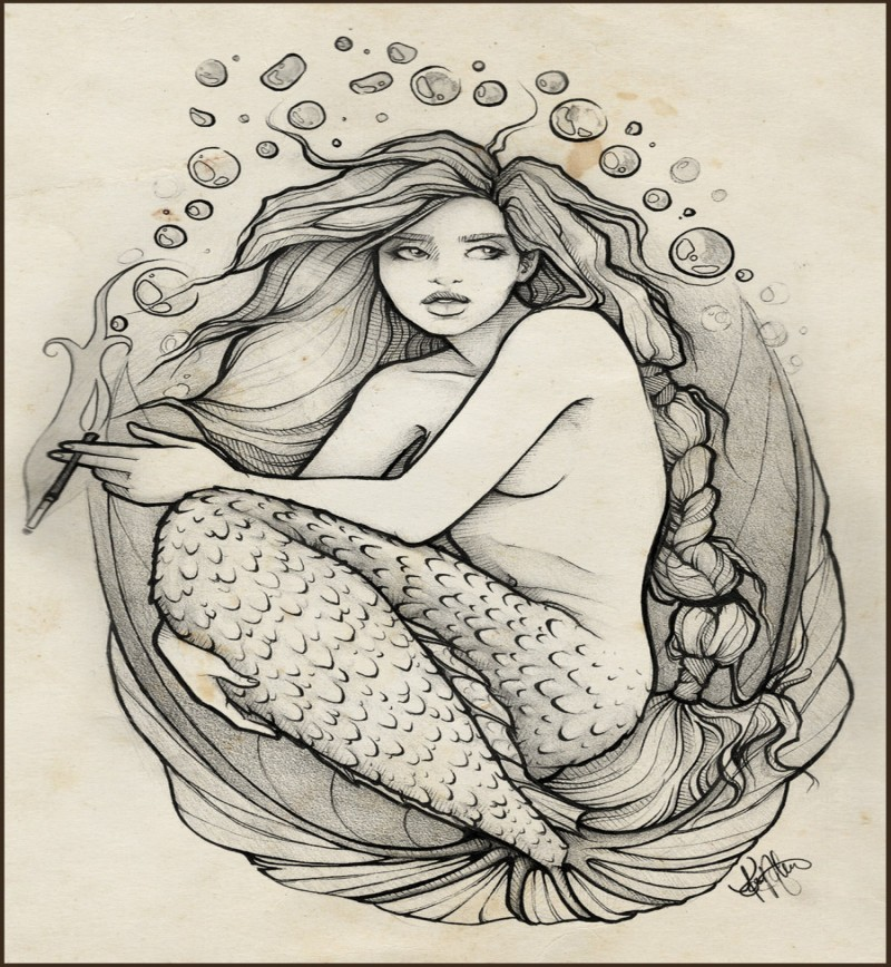 Attractive grey-ink sitting mermaid with small bubbles tattoo design