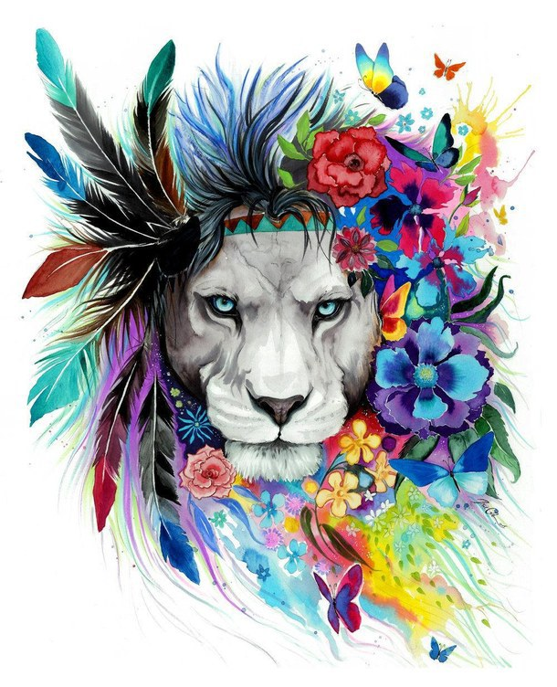 Attractive grey-muzzle lion decorated with colorful feathers and flowers tattoo design by Pixie