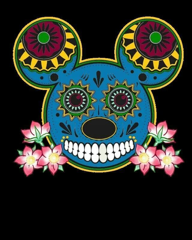 Attractive multicolor muerte Mickey Mouse face with pink flowers tattoo design