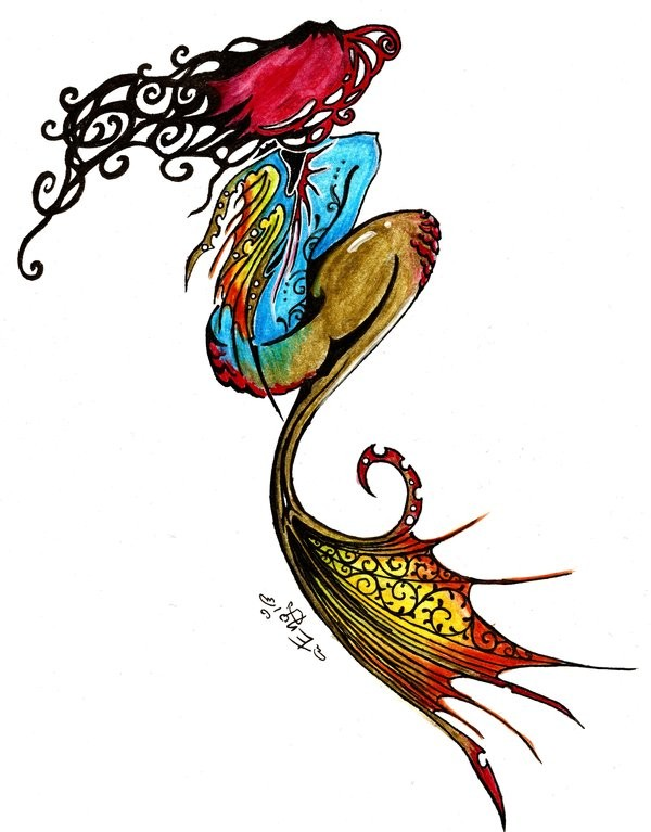 Attractive multicolor tribal mermaid from back tattoo design