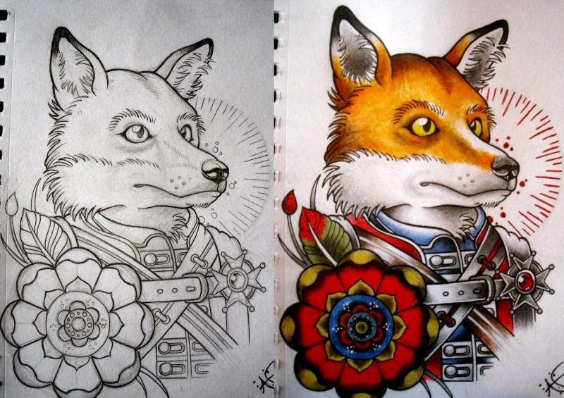 Attractive new school colorful fox tattoo design