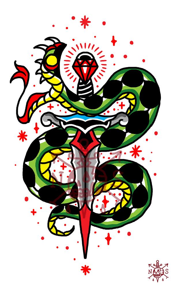 Attractive old school snake pierced with diamond-handle sword tattoo design