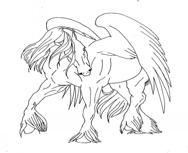 Attractive outline pegasus with fluffy hoofs tattoo design
