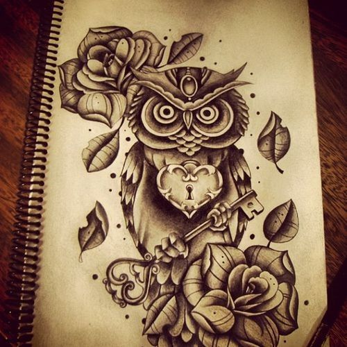 Attractive owl with heart lock and huge key tattoo design