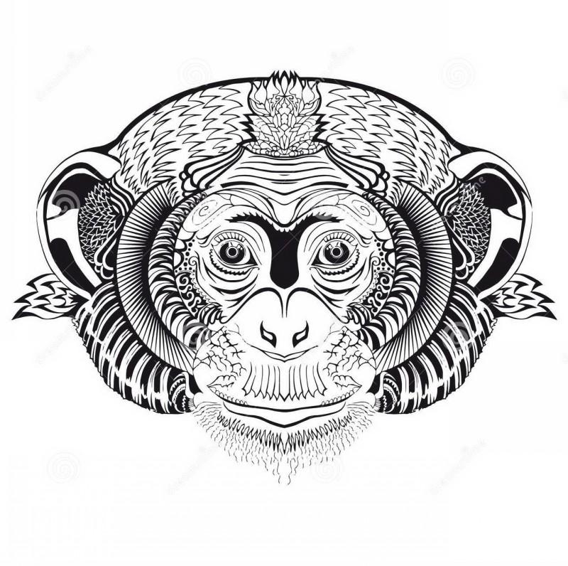 Attractive patterned chimpanzee muzzle tattoo design
