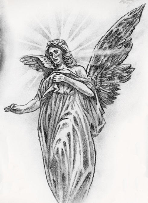 Attractive pencilwork angel with sun sining nimbus tattoo design