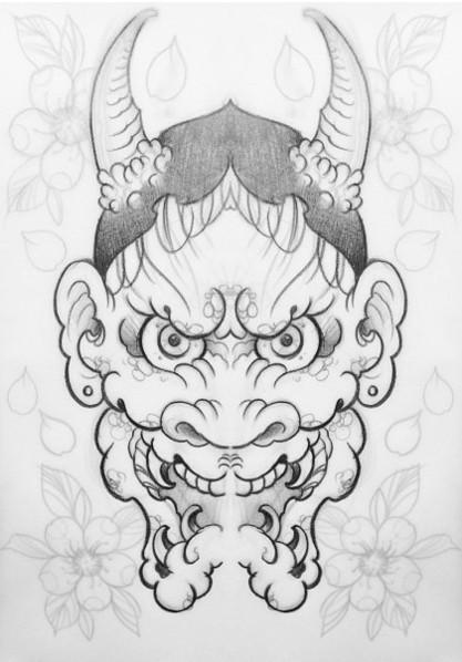 Attractive pencilwork chinese devil head tattoo design