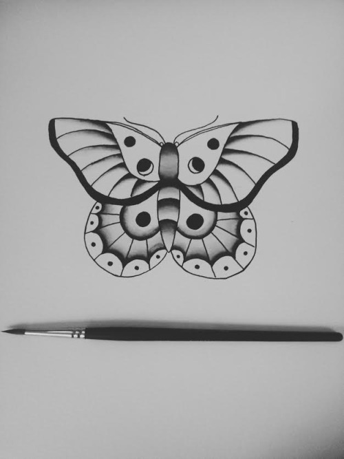 Attractive Small Black And White Butterfly Tattoo Design