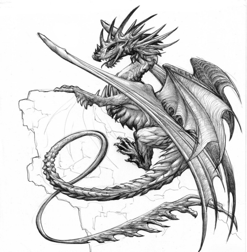 Attractive spike dragon climbong on rock tattoo design by Chaos Flower
