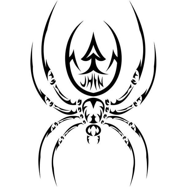 Attractive tribal long-legged spider tattoo design