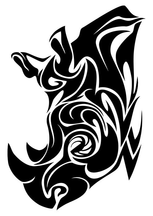 Attractive tribal rhino head in profile tattoo design