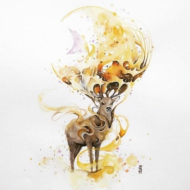 Attractive yellow watercolor wild animal tattoo design