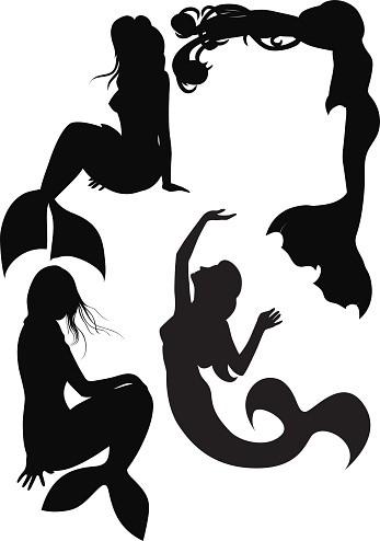 Attrative full-black mermaid silhouettes tattoo design