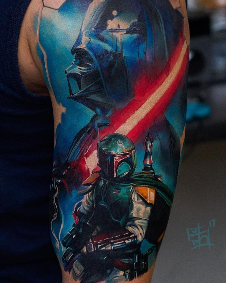 Awesom star wars theme tattoo with Darth Vader