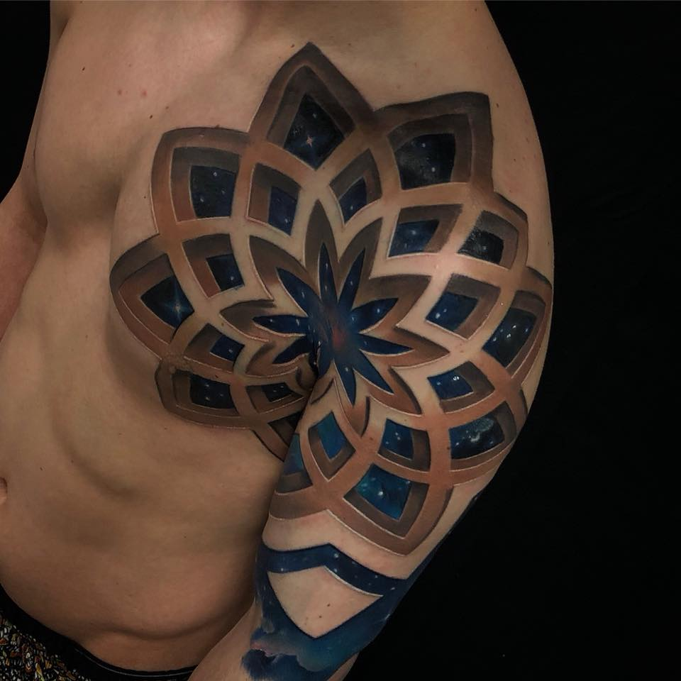 Awesome 3d style pattern on chest and shoulder