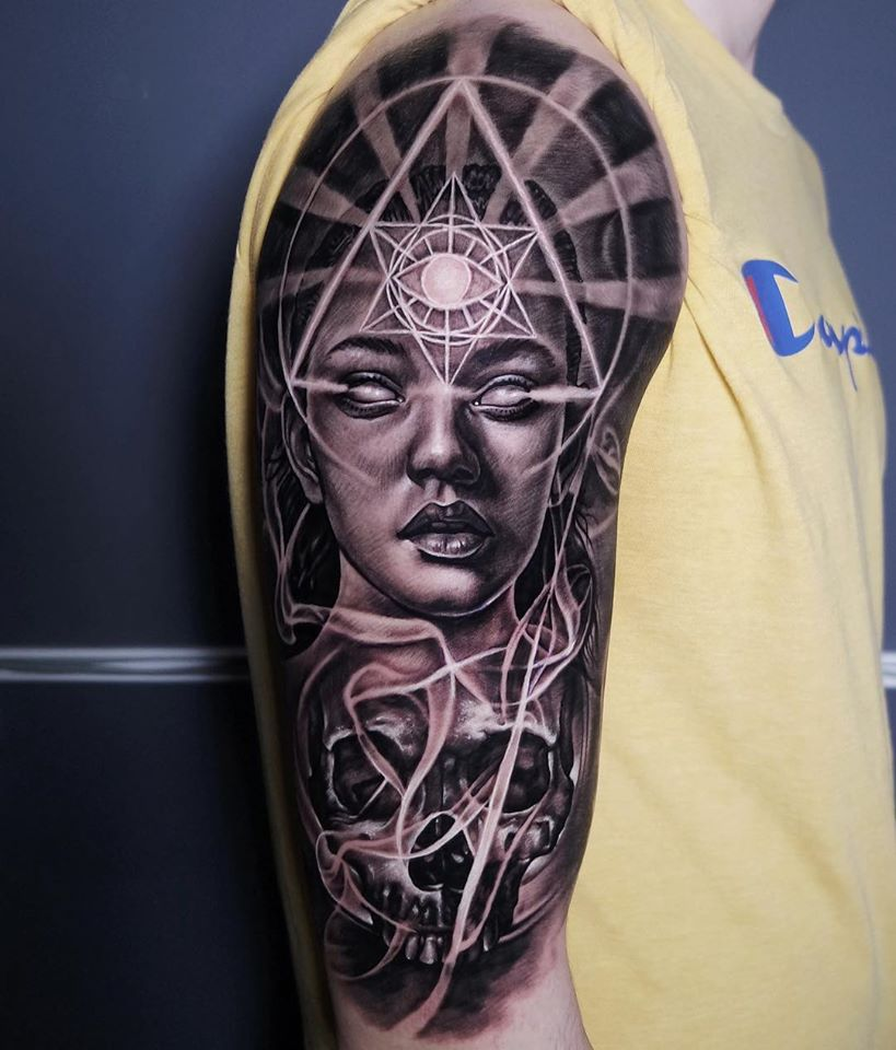 Awesome abstact tattoo with geometrical elements