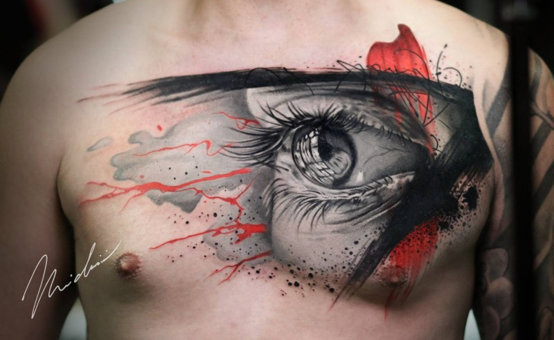 Awesome abstract eye tattoo on chest