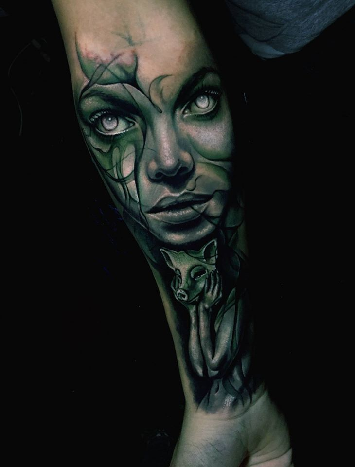 Awesome abstract tattoo with girl face