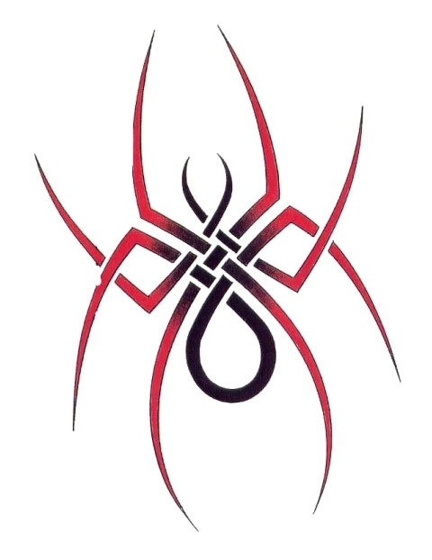 awesome black and red spider with celtic ornament tattoo design. Black Bedroom Furniture Sets. Home Design Ideas