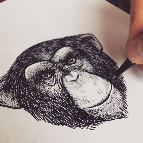 Awesome black-and-white chimpanzee head tattoo design