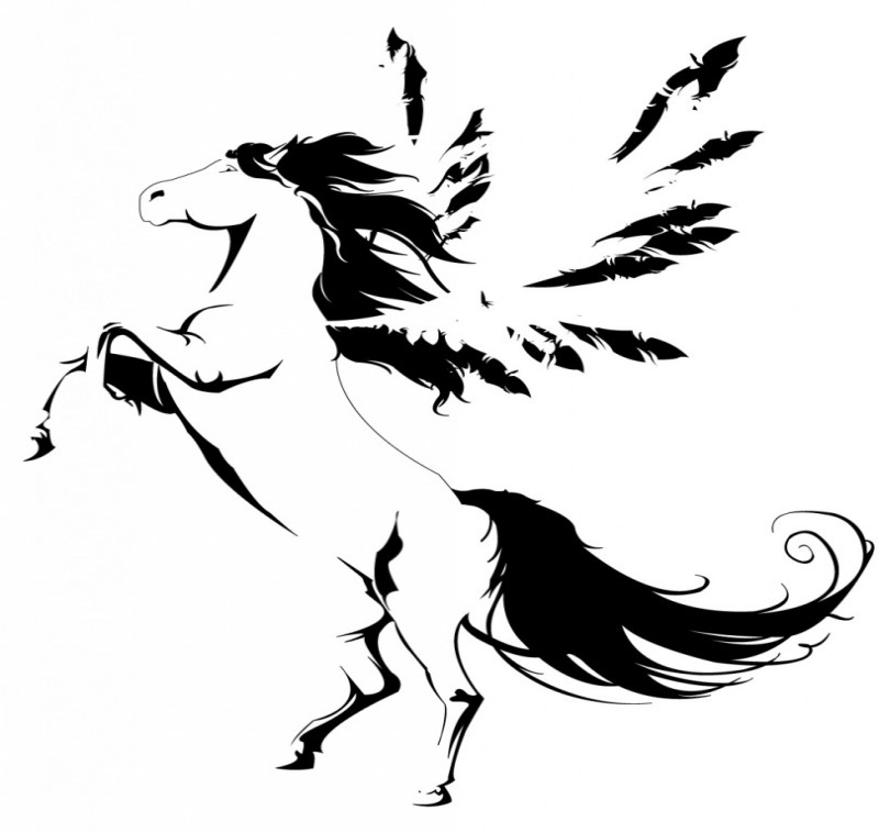 Awesome black-and-white jumping pegasus tattoo design