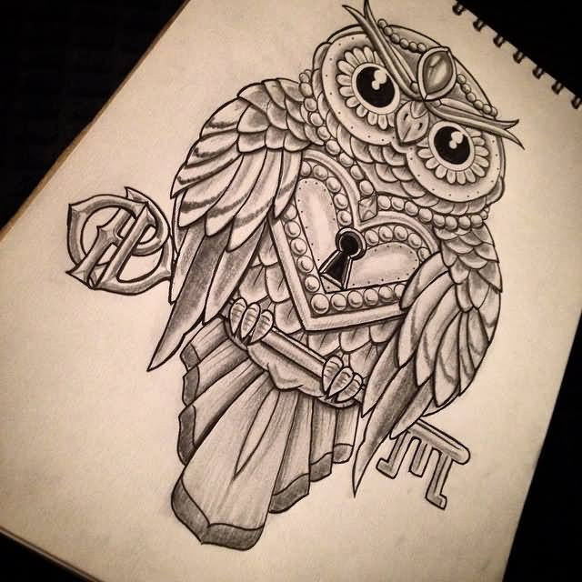 Awesome black-and-white owl with locked heart and a key tattoo design