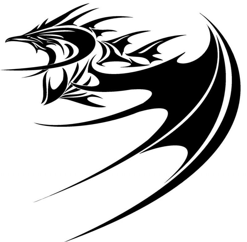 Awesome black-color dragon creature tattoo design