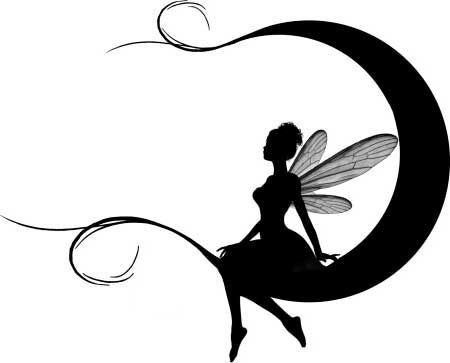 Awesome black-ink fairy silhouette sitting on curly-ended moon tattoo design