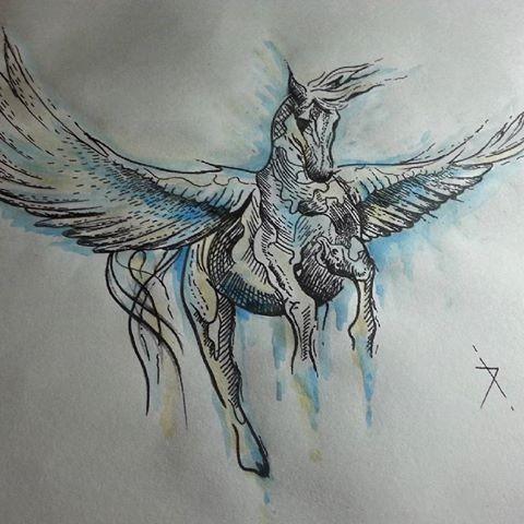 Awesome black-ink pegasus with blue splashed contour tattoo design
