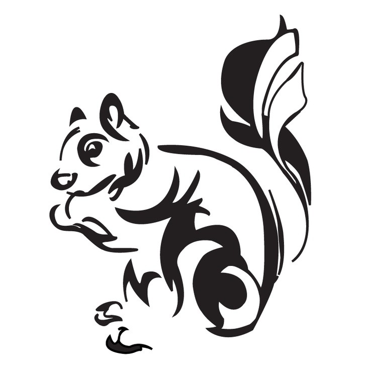 Awesome black-ink tribal rodent tattoo design